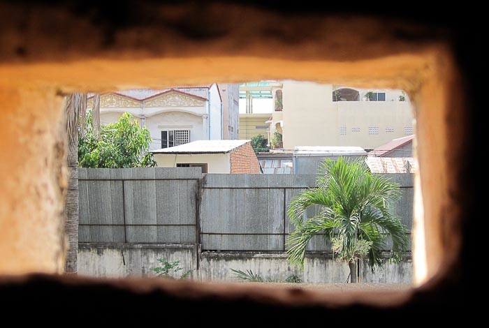 View from cell at S-21, Phnom Penh.
