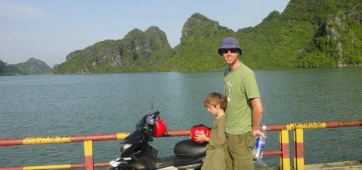Zac, dad and bike at the end of the road, Cat Ba island, Halong Bay, Vietnam
