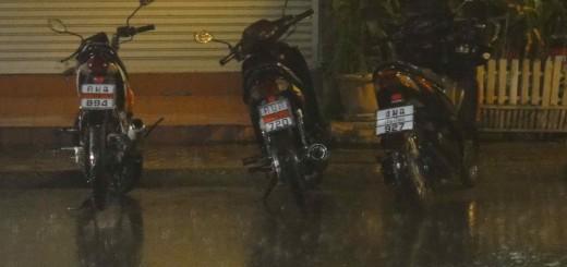 motorbikes in rain