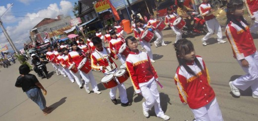 little girls in marching band, Rantepao, Tana Toraja, Sulawesi, Indonesia.