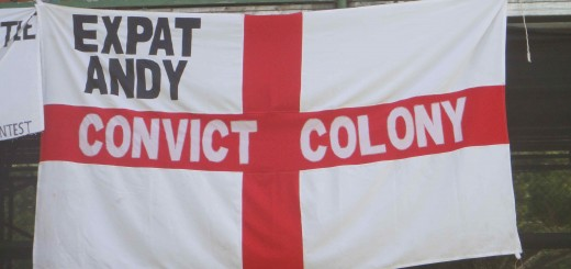 barmy army flag of St. George, labelled Expat Andy, Convict Colony