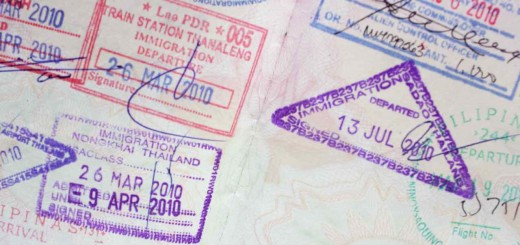 passport pages stamped with entry and exit visas