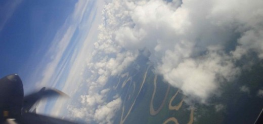 view from airplane window of borneo