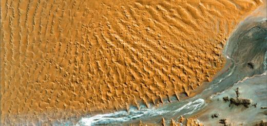 Namib desert satellite view via Wikimedia Commons