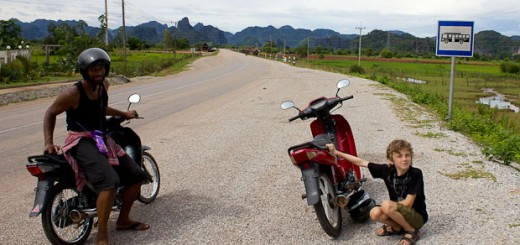 H and Z on bikes in Laos