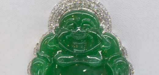 Jade laughing Buddha pendant in Lijiang Old Town, Yunnan, China.