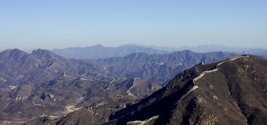 The Great Wall of China winds away over the mountains -- Badaling.