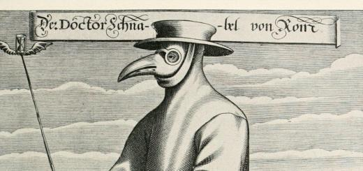 Plague doctor image from early manuscript.