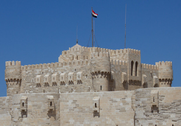View of Qaitbey castle, Alexandria's medieval citadel.