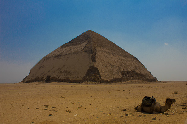Bent Pyramid at Dahshur, Cairo, Egypt, with camel.
