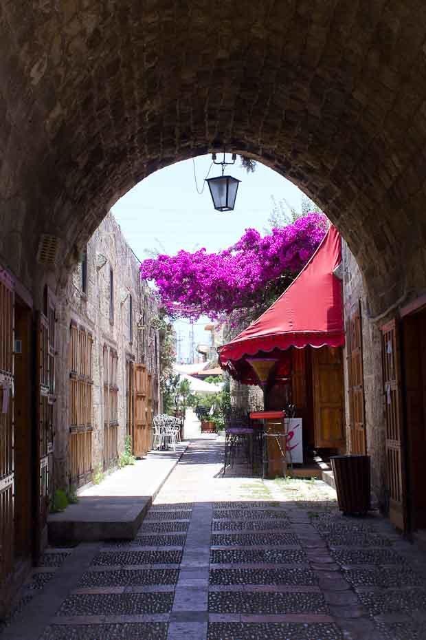 View through gateway of Byblos old souk.
