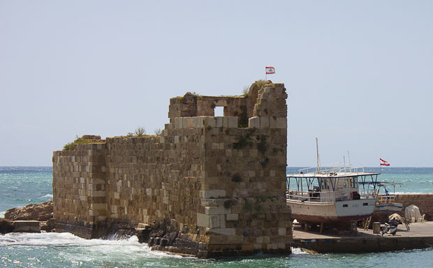 Little fort at the entrance to Byblos harbour, Lebanon.