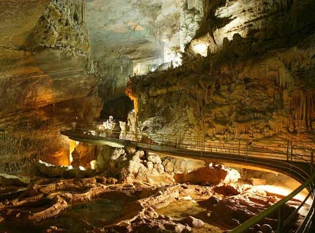 Walkway and caverns in the upper cave of Jeita Grotto.
