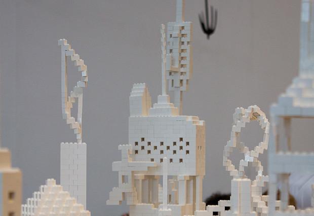 Crowd-sourced Lego artwork from GOMA in Brisbane.