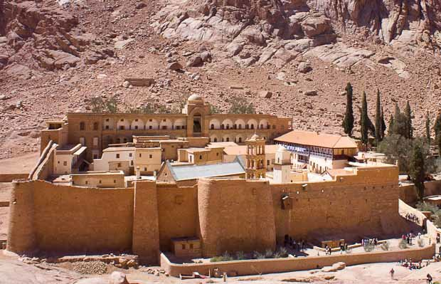 St. Catherine's Monastery against rugged mountains.
