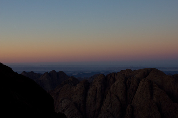 Sunset over the mountains around Mount Sinai, Egypt.