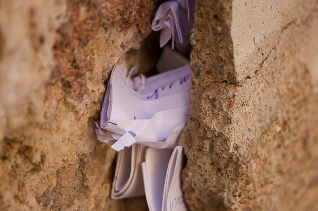 Notes tucked into the wall by the burning bush, St. Catherine's Monastery, Mount Sinai.