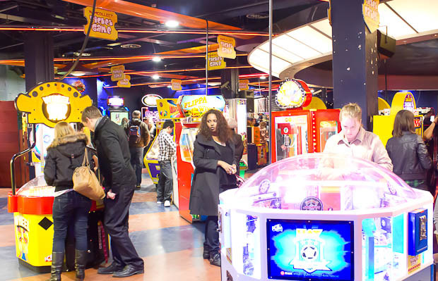 Namco station amusement arcade, with crowds.