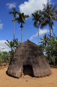 Nome, Timor, traditional beehive hut on sand backed by palm trees.