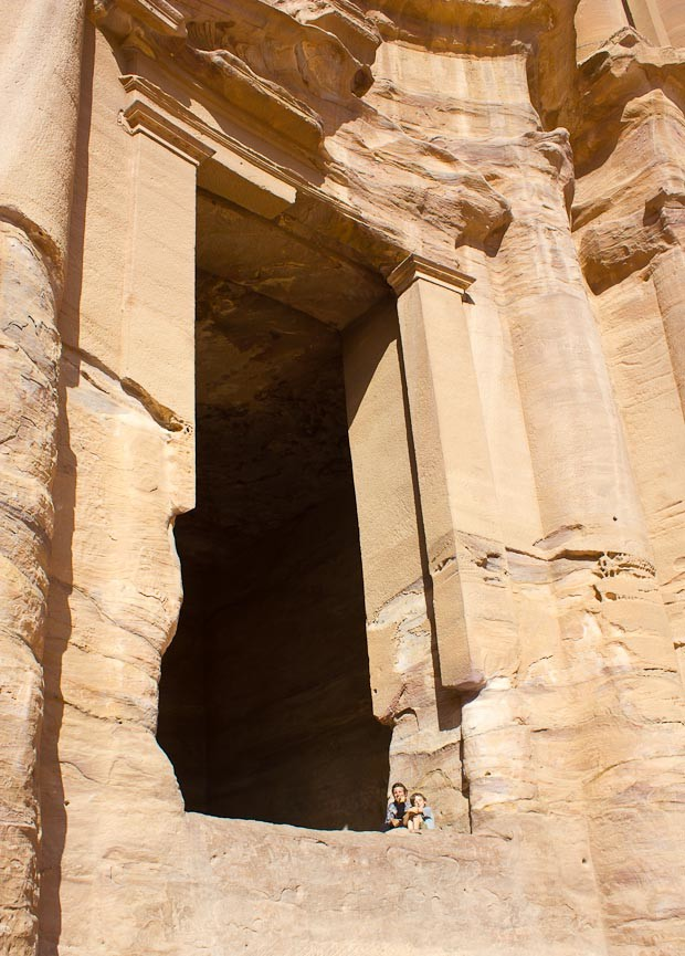 Me and Z as tiny pixels in the corner of the Monastery door at Petra, Jordan.