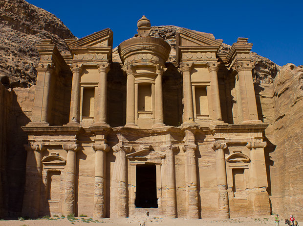 The enormous Monastery building in Petra, Jordan.