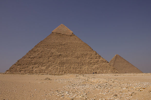 The pyramids of Khafra and Khufu in Giza, outside Cairo, Egypt.