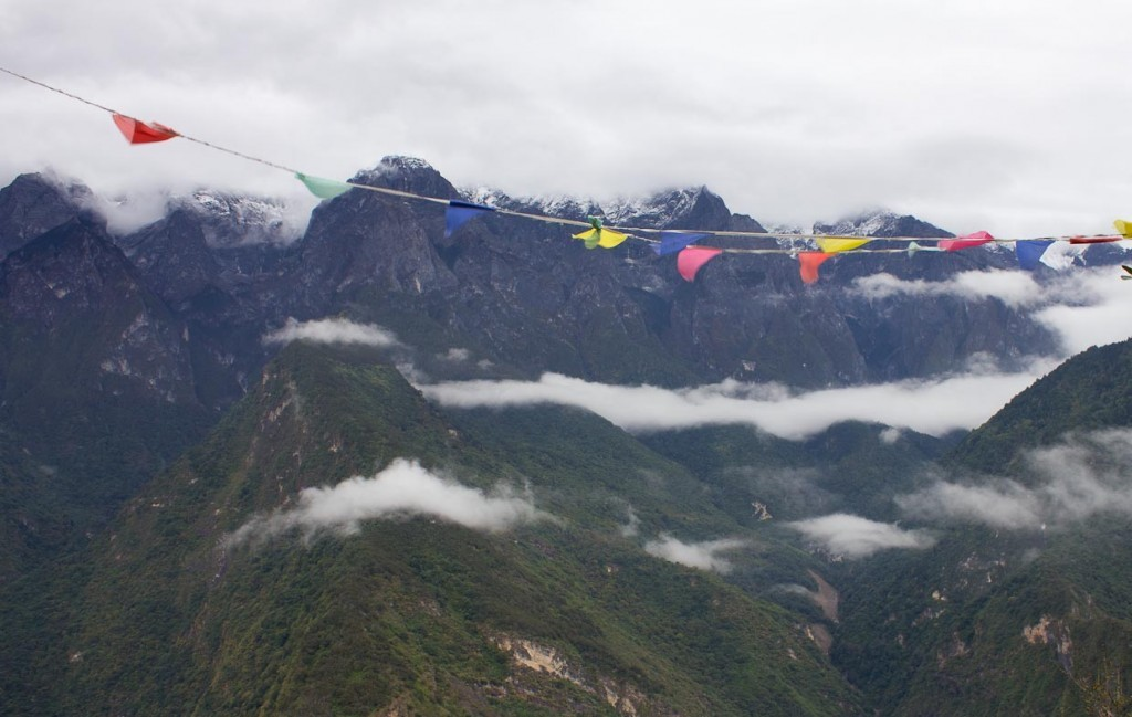 Prayer flags blowing over Tiger Leaping Gorge.