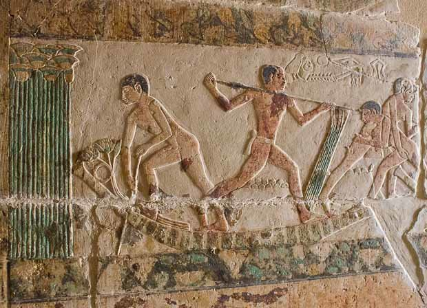Tomb relief from Sakkara, showing men playfighting on a boat amid papyrus.