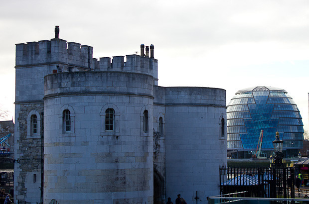 The Tower of London with London Assembly building in the background.