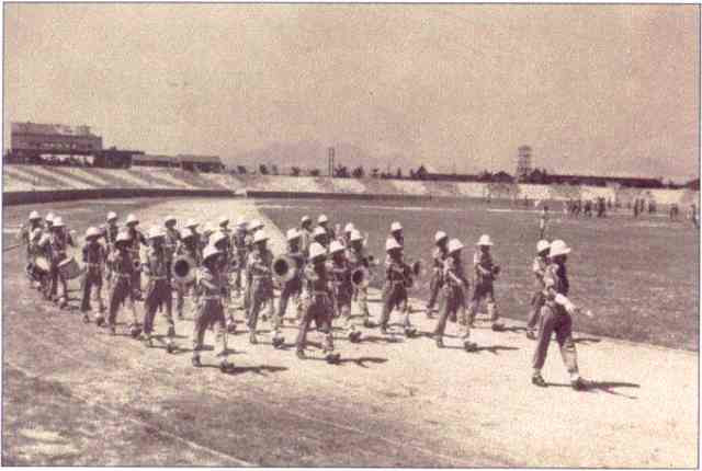 troops parade on the beach of Morotai, Halmahera, Indonesia, WWII