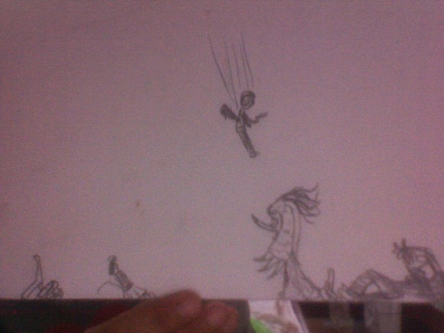 Drawing of the troll battle in Artemis Fowl