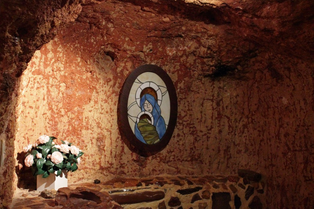 picture of the madonna in the underground catholic church, coober pedy, australia