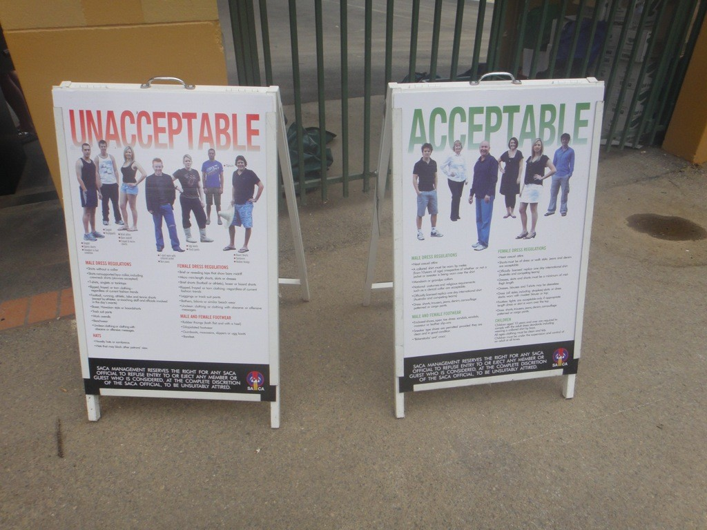 acceptable and unacceptable dress codes for entry to the members area at Adelaide Oval