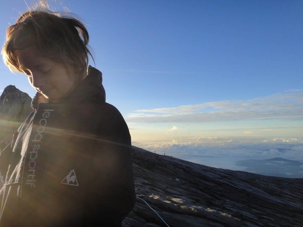 Z pleased with himself in the sunrise: Mount Kinabalu, Borneo.