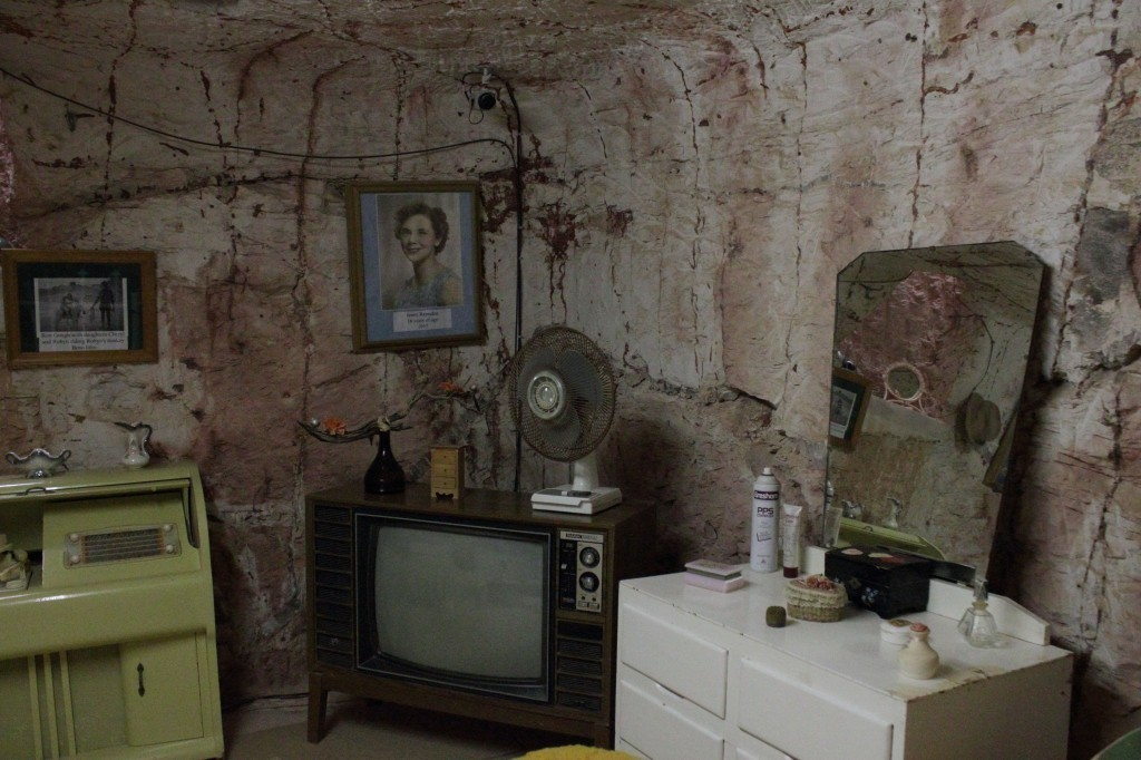 1970s living room in dugout home, Coober Pedy, Australia