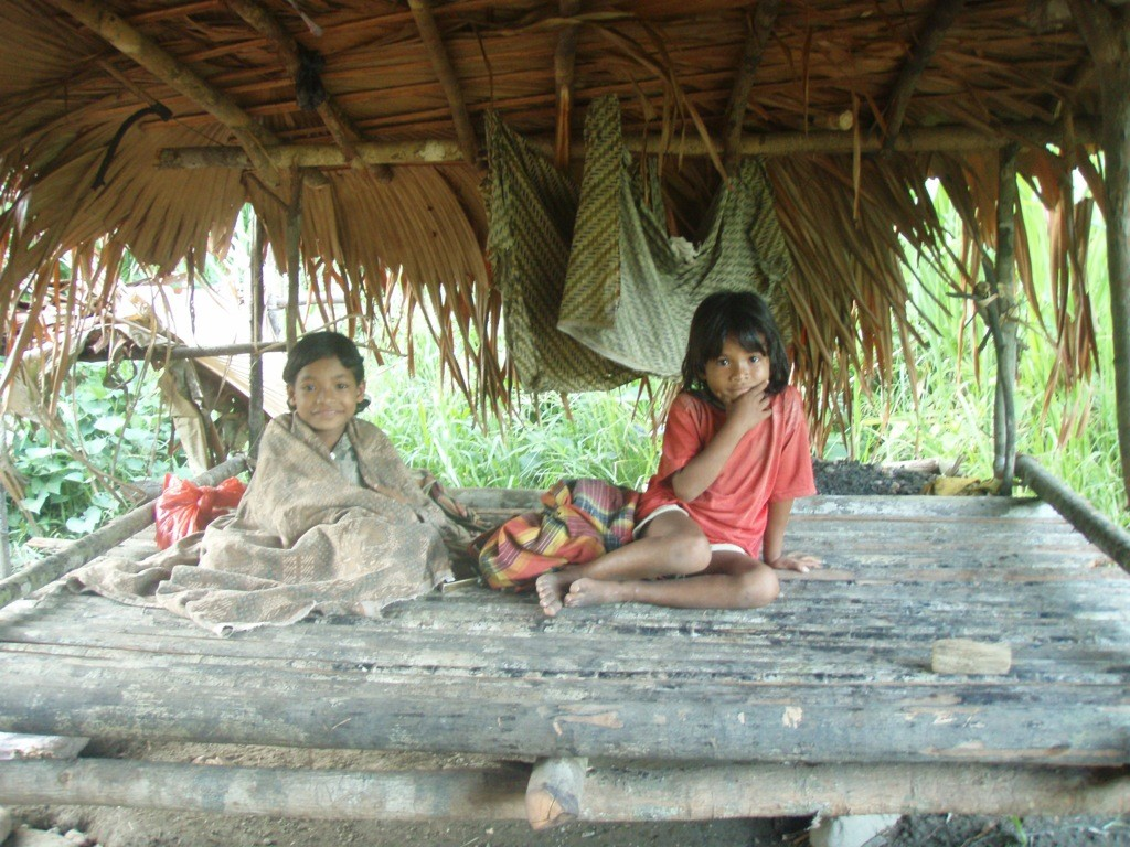 Lima's children sit on the sleeping platform under a palm-thatch shelter.