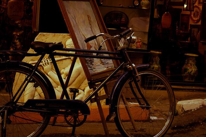 Bicycle outside junk store, Cihangir Istanbul