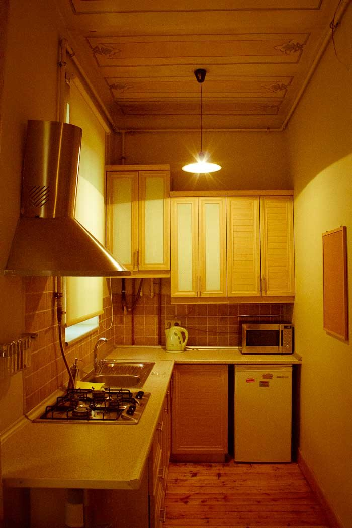 Kitchen of our apartment in Cihangir, Istanbul.