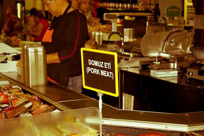 Pork meat sign in Cihangir Carrefour, Istanbul.