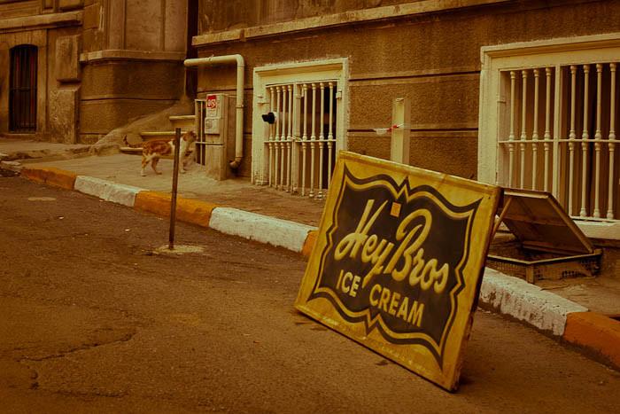 Icecream sign on a Cihangir street.