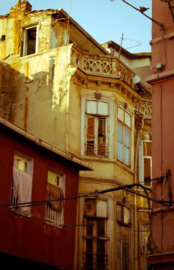 Crumbling houses in Cihangir, Istanbul.