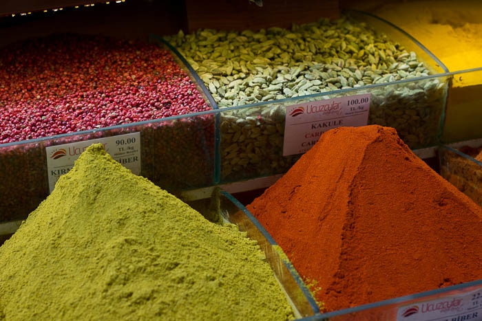 Colourful spice mixes at the Istanbul Spice Bazaar.