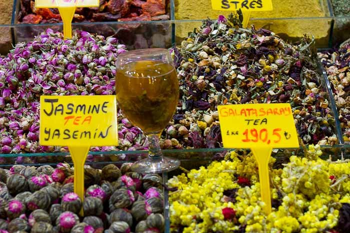 Fruit and flower teas for sale at the Istanbul Spice Bazaar.