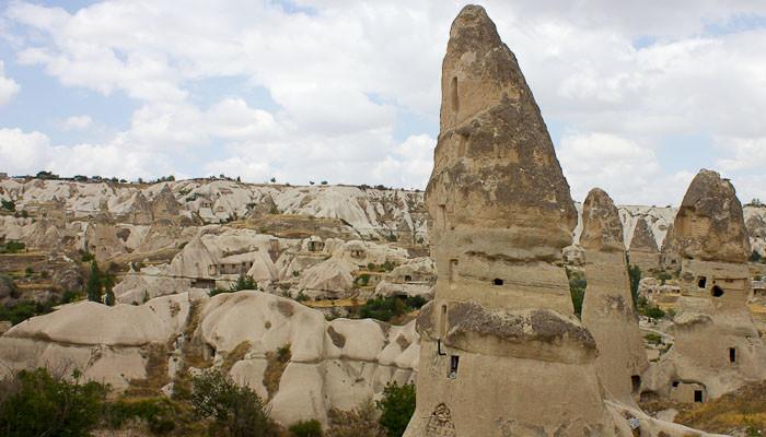 Phallic rock overlooking Goreme, Cappadocia.
