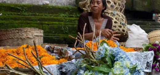 Flower seller at Ubud Market