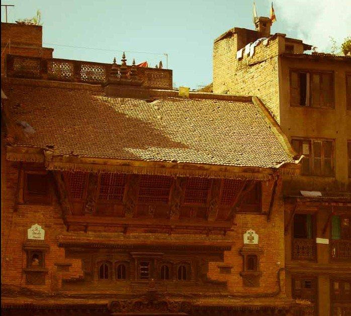 Medieval wood carved building, Kathmandu, Nepal.