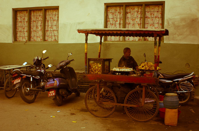 Food vendor with bicycle-wheeled cart, Kathmandu, Nepal.