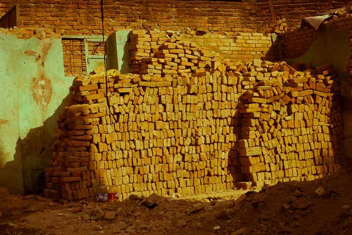 Stacks of bricks await construction, Kathmandu, Nepal.