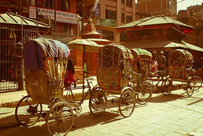 Rickshaws on a square in Kathmandu, Nepal.
