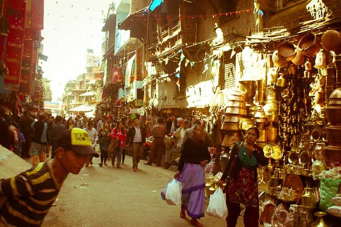 Cookware and brassware shopping street in Kathmandu, Nepal.